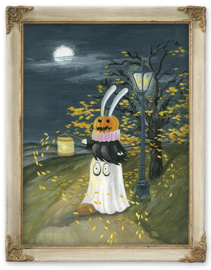 Lady Harvey und der Schwanzbiber an Halloween mit Pumpkin und Geisterkostüm